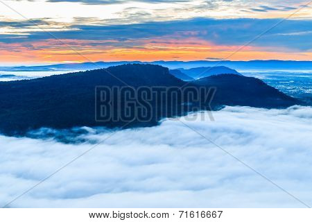 The Mountain At Pha Mo I Daeng Cliff And The Sea Of Mist In The Morning, Sisaket, Thailand