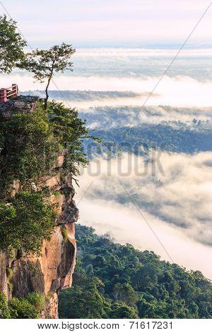 Pha Mo I Daeng Cliff And Mist In The Morning, Sisaket, Thailand