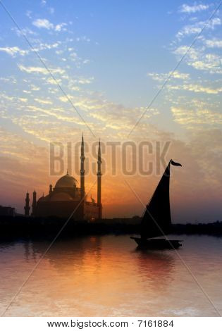 Cairo Citadel and felucca on the nile