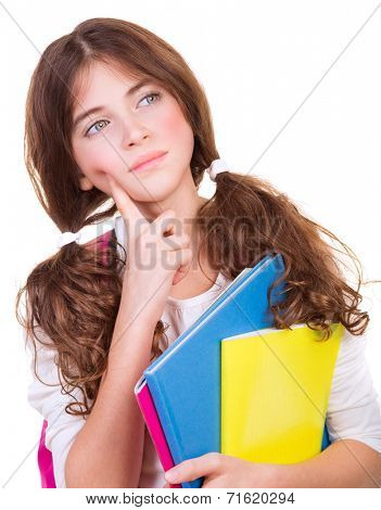 Closeup portrait of serious thoughtful schoolgirl with colorful books isolated on white background, looking in side, looking for solution of task