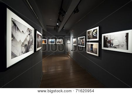 DUBROVNIK, CROATIA - MAY 28, 2014: View of the interior exhibits of the Dubrovnik War Museum, which illustrates the war in the Balkans