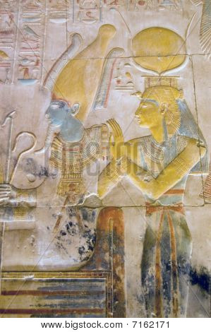 Isis and Osiris carving