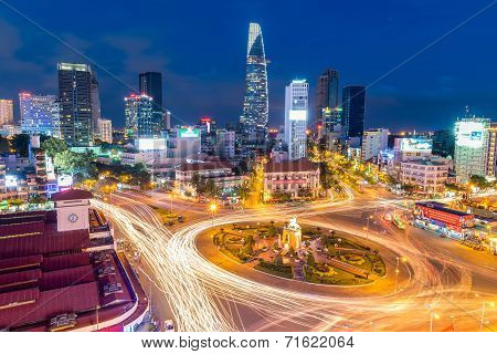 Downtown Saigon and Quach Thi Trang park at blue hour