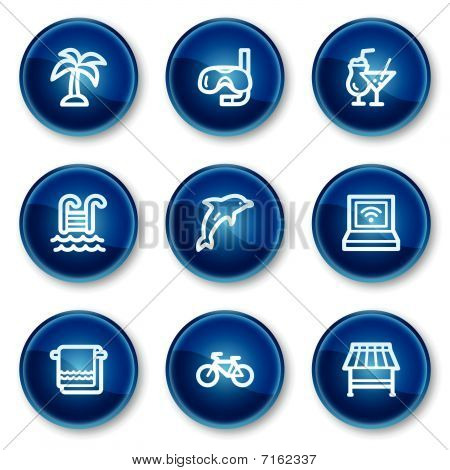 Vacation web icons, blue circle buttons