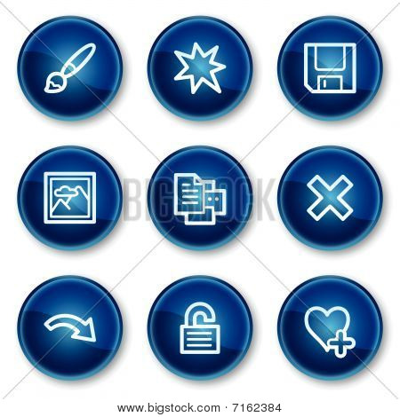 Image viewer web icons set 2, blue circle buttons