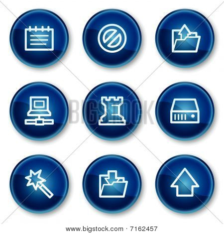 Data web icons, blue circle buttons