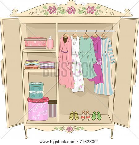 Illustration Featuring an Armoire with a Shabby Chic Design