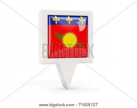 Square Flag Icon Of Guadeloupe