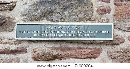 Sign At A Holy Water Stoup
