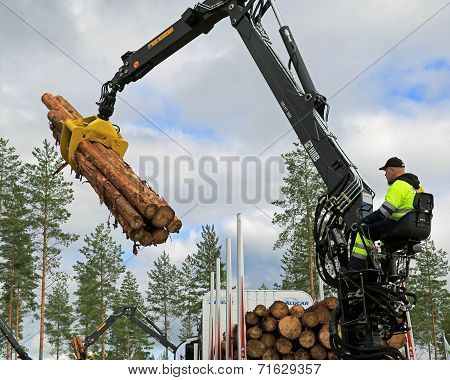 Competitor Stacking Wood In Finnish Log Loading Championships 2014