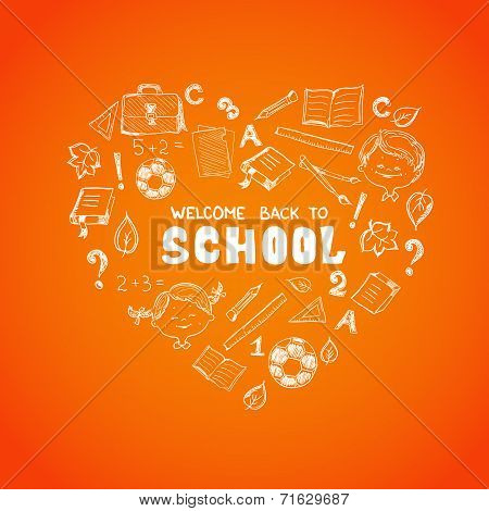 School objects in the shape of heart