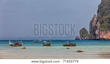 Longboats On Phi Phi Island, Thailand