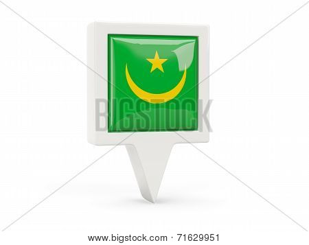 Square Flag Icon Of Mauritania