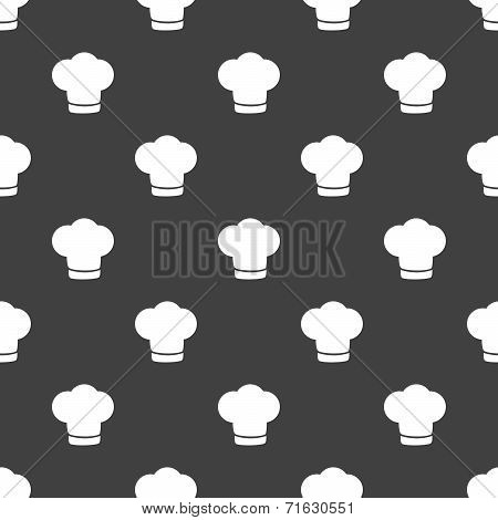 Chef cap web icon. flat design. Seamless gray pattern.