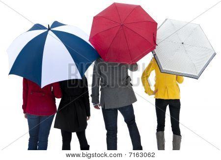 Under Umbrellas in the Rain