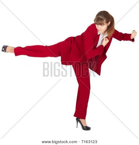 Young Girl Kicks Back On White Background