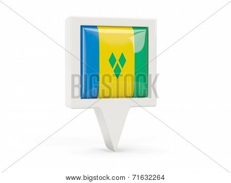 Square Flag Icon Of Saint Vincent And The Grenadines