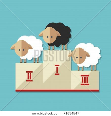Modern flat design conceptual illustration with sheep