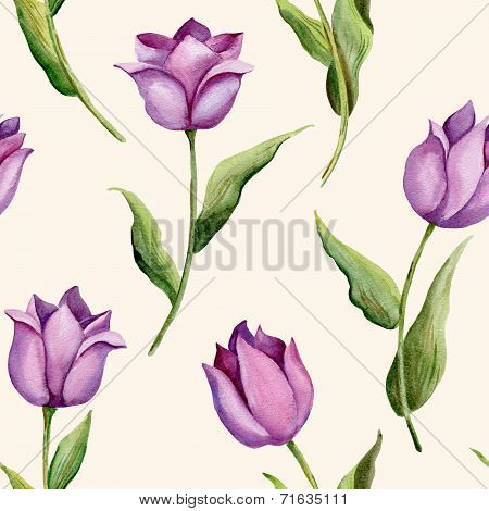 Illustration of seamless pattern with tulips