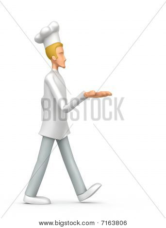 Chef Comes With Outstretched Arm