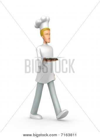 Chef Carries A Tray