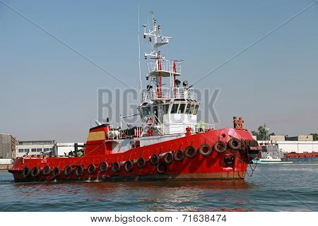 Red Tug Is Underway On Black Sea, Bulgaria