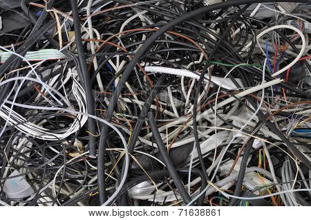 Scrap cable in a waste landfill
