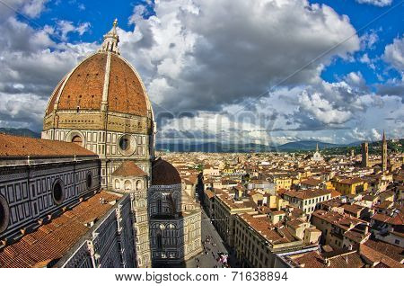 Wide angle view on a dome of Santa Maria del Fiore cathedral in Florence, Tuscany