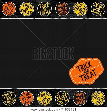 halloween round badges seamless pattern on dark with blank torn paper horizontal border with sticker