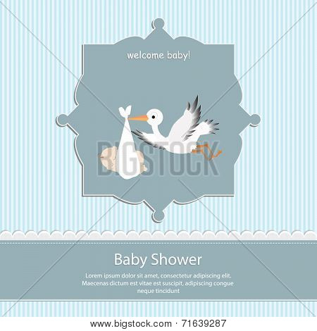 baby shower card, for baby boy,blue stripe background with stork
