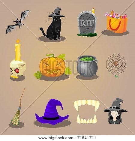 halloween accessories and characters icons set vector illustration
