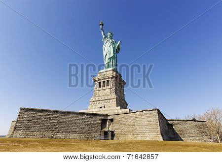 Statue Of Liberty In New York City In Cloudless Day, Usa.
