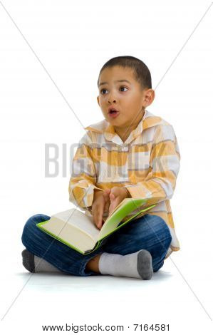 Cute Boy Arguing Over A Book
