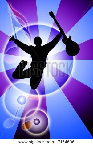 Jumping Man With Guitar Silhouette On Abstract Background