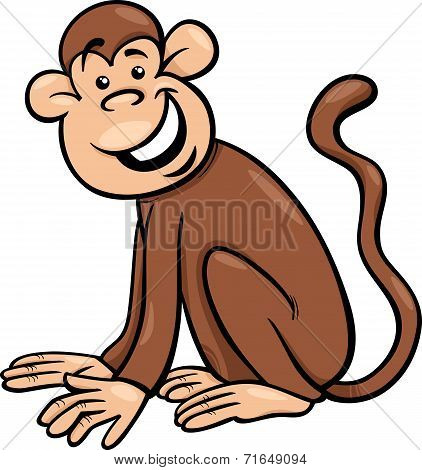 Funny Monkey Cartoon Illustration