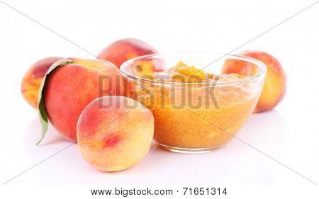 tasty peach jam with fresh peaches, isolated on white