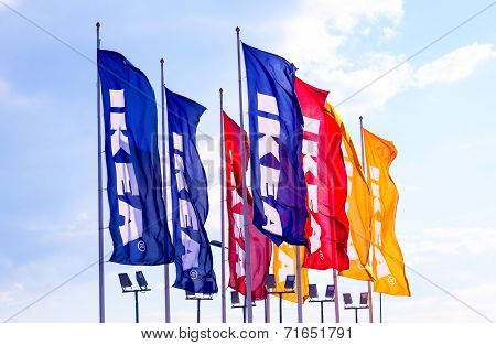 Samara, Russia - September 6, 2014: Ikea Flags Against Sky At The Ikea Samara Store. Ikea Is The Wor