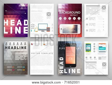 Abstract Triangle Geometric Vector Brochure Template. Flyer Layout. Flat Style. Infographic Elements.