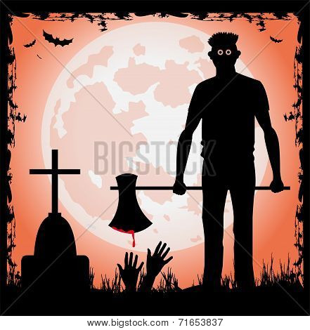 Man with ax in the halloween night