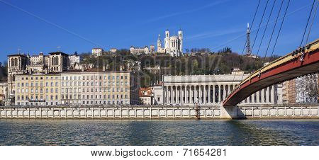 Panoramic View Of Lyon And Saone River