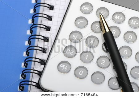 Writingbook And Pen And Calc