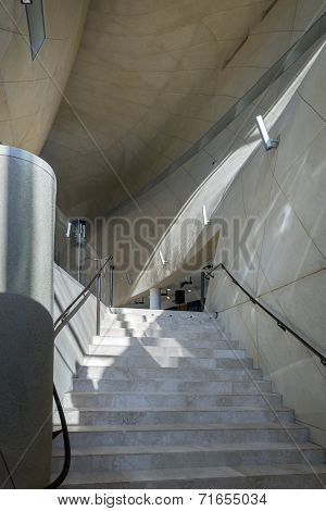 Futuristic Entrance Hall In Museum Of History Of Polish Jews In Warsaw.
