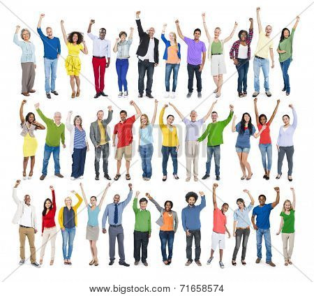 Multi-Ethnic Group of People in a Row with Arms Raised