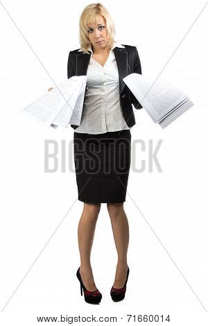 Desperate business lady with a pile of papers