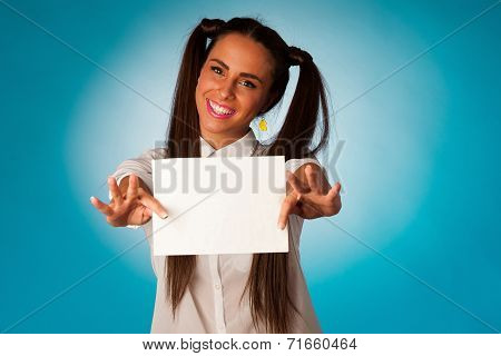 Ful Hispanic Business Woman Holding Blank Card