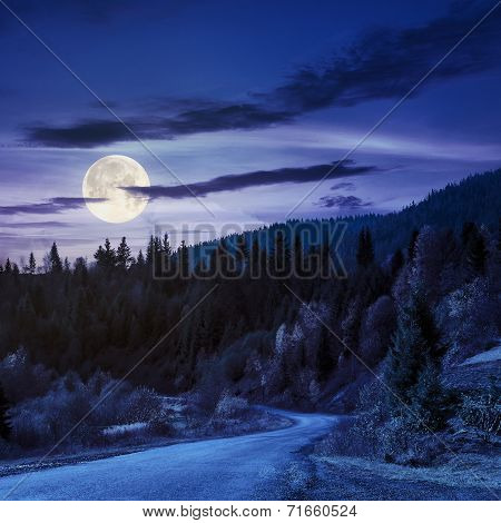 Winding Road To Forest In Mountains At Night