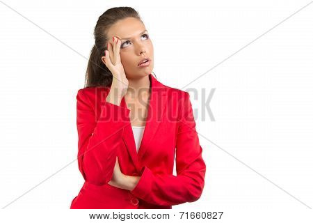 Businesswoman with the hand at her forehead