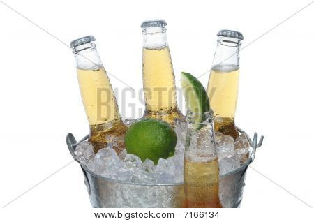 Beer Bucket With Lime And Bottle In Front