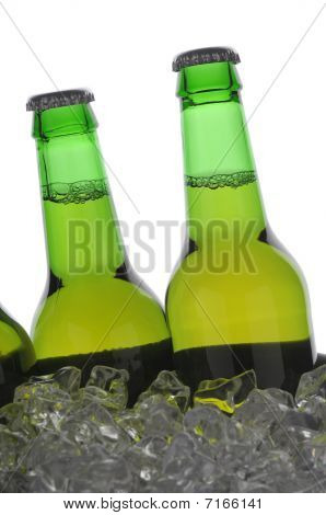Two Green Beer Bottles In Ice
