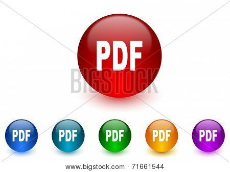 pdf internet icons colorful set